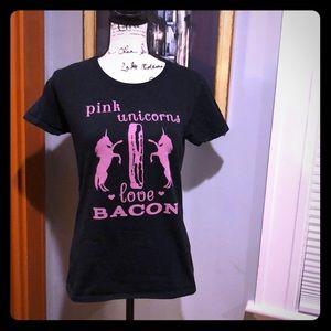 """Pink Unicorns Love Bacon"" T-Shirt (M)"